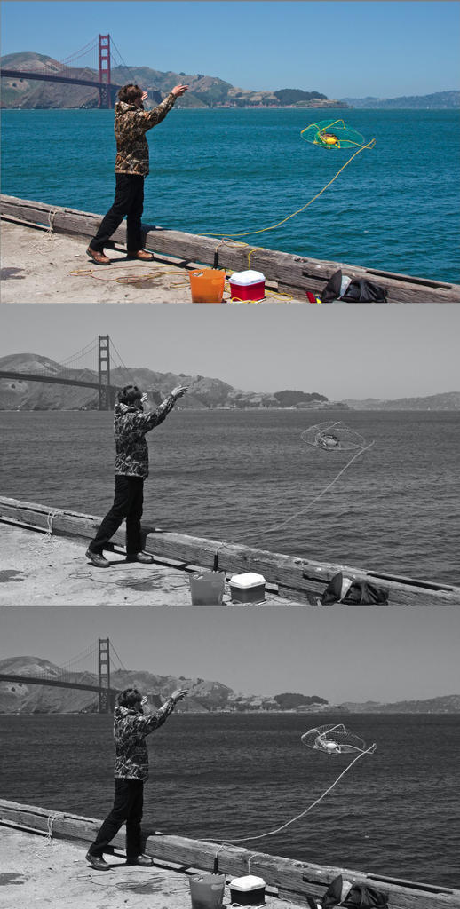 Better B&W Conversion Using Multiple Hue/Saturation Layers in Photoshop & Elements-beforeduringafter.jpg
